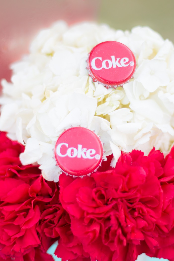 Florals from a Retro Diner Themed Mother's Day Party via Kara's Party Ideas | KarasPartyIdeas.com - The Place for All Things Party! (5)