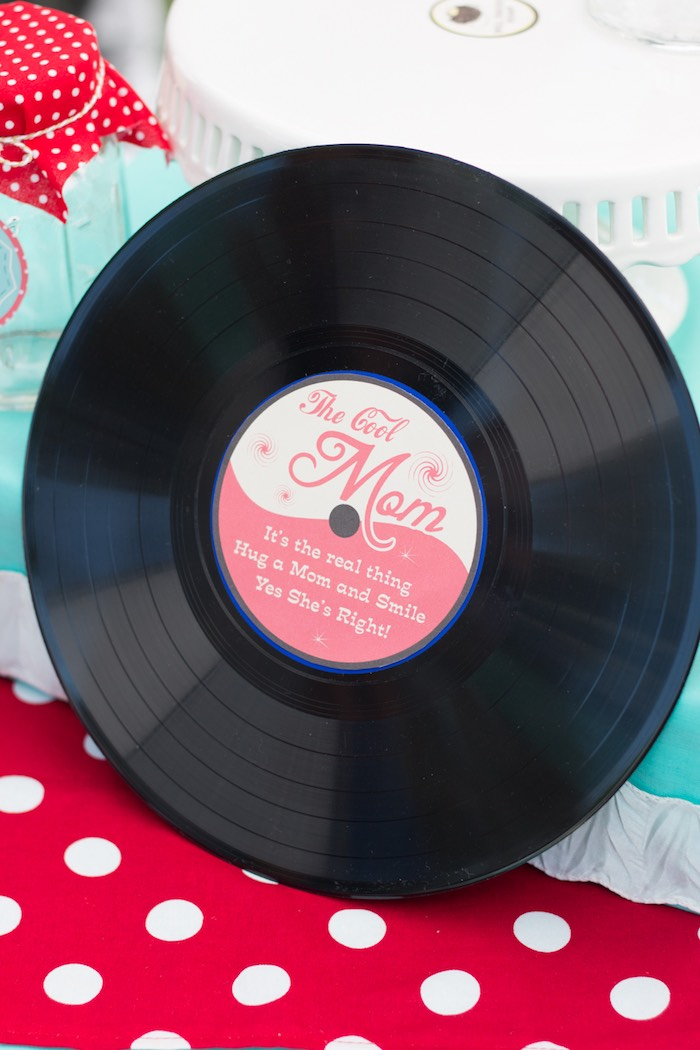Vintage Record from a Retro Diner Themed Mother's Day Party via Kara's Party Ideas | KarasPartyIdeas.com - The Place for All Things Party! (23)