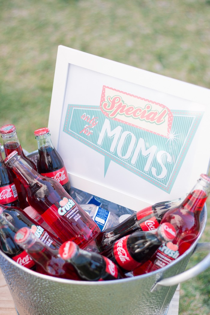 Drinks from a Retro Diner Themed Mother's Day Party via Kara's Party Ideas | KarasPartyIdeas.com - The Place for All Things Party! (20)