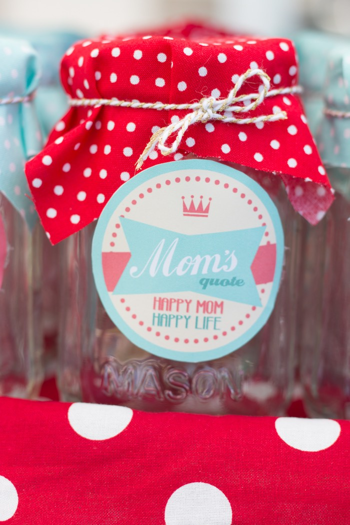 Mason Jar Tag from a Retro Diner Themed Mother's Day Party via Kara's Party Ideas | KarasPartyIdeas.com - The Place for All Things Party! (19)