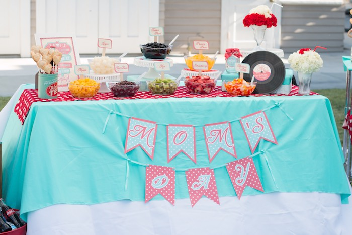 Main Table from a Retro Diner Themed Mother's Day Party via Kara's Party Ideas | KarasPartyIdeas.com - The Place for All Things Party! (16)