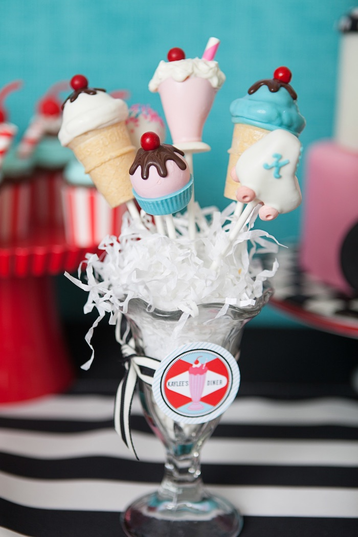 Cake Pops + Sweets from a Retro Soda Shoppe Birthday Party via Kara's Party Ideas - The Place for All Things Party! KarasPartyIdeas.com (48)