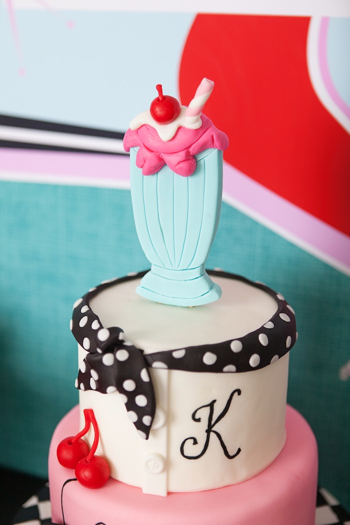 Top Of The Cake From A Retro Soda Shoppe Birthday Party Via Karas Ideas