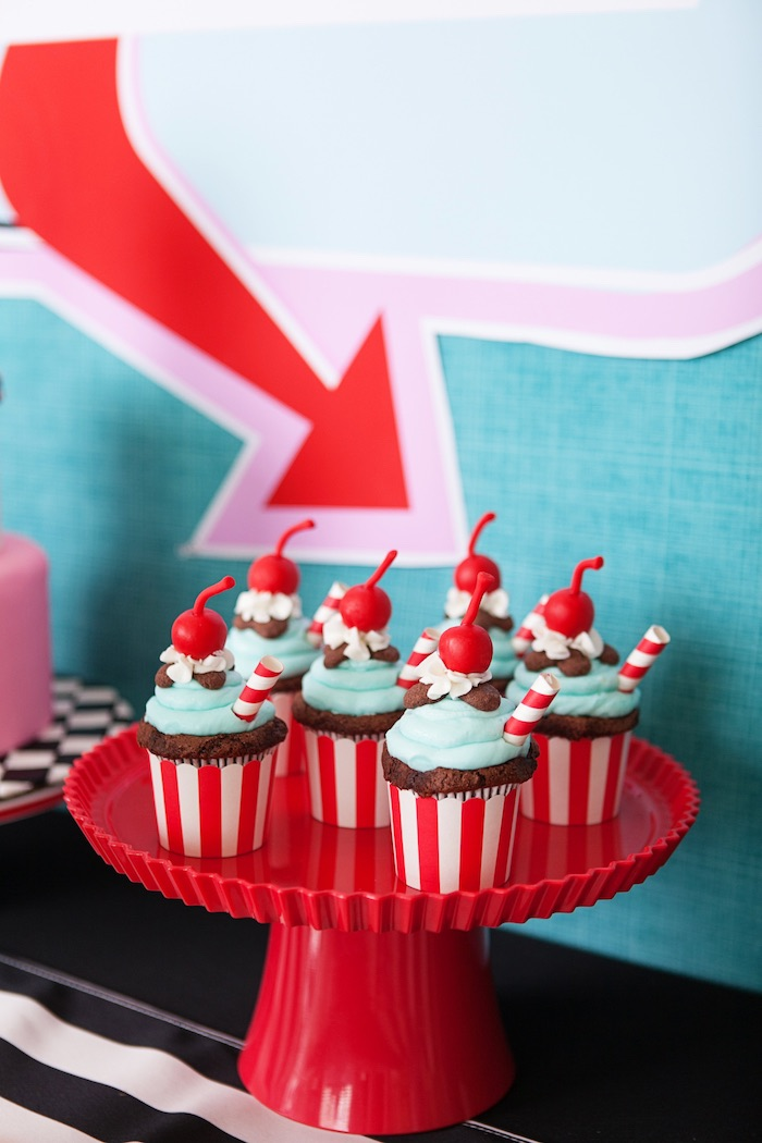 Cupcakes from a Retro Soda Shoppe Birthday Party via Kara's Party Ideas - The Place for All Things Party! KarasPartyIdeas.com (45)