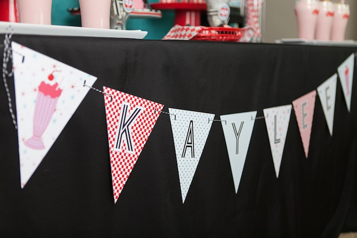 Dessert Table Banner from a Retro Soda Shoppe Birthday Party via Kara's Party Ideas - The Place for All Things Party! KarasPartyIdeas.com (44)