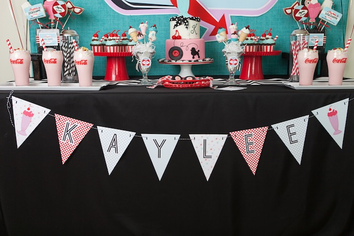 Banner + Sweet Table Details from a Retro Soda Shoppe Birthday Party via Kara's Party Ideas - The Place for All Things Party! KarasPartyIdeas.com (43)