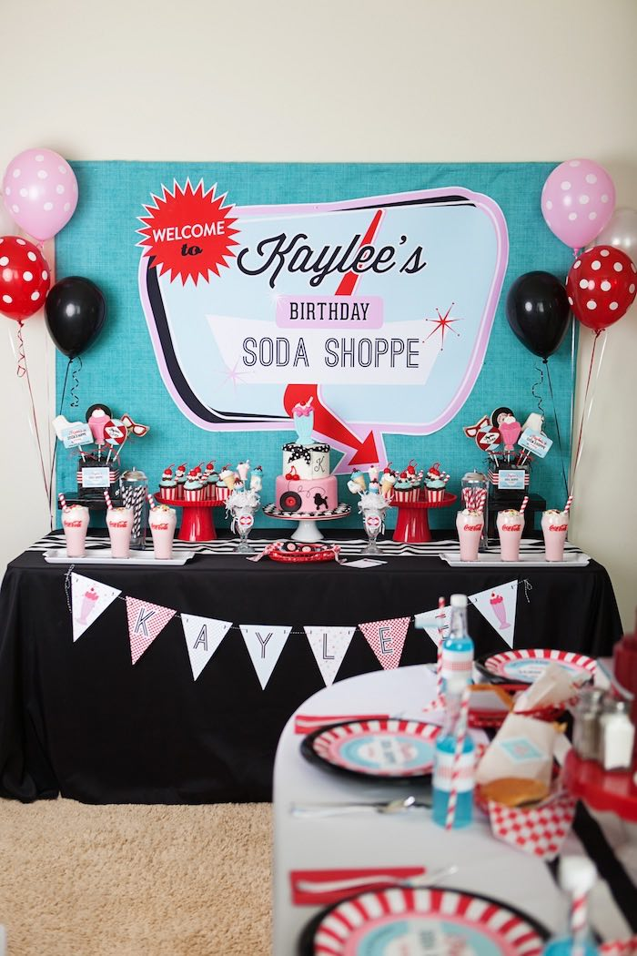 Head Table from a Retro Soda Shoppe Birthday Party via Kara's Party Ideas - The Place for All Things Party! KarasPartyIdeas.com (42)