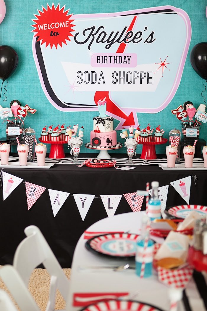 Head Table from a Retro Soda Shoppe Birthday Party via Kara's Party Ideas -  The Place