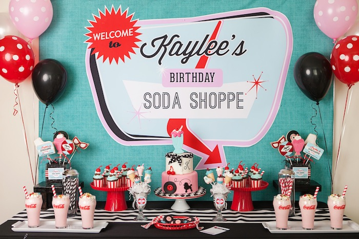 Sweet Table from a Retro Soda Shoppe Birthday Party via Kara's Party Ideas - The Place for All Things Party! KarasPartyIdeas.com (40)