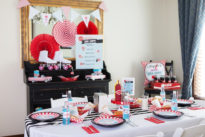 Party Details + Setup from a Retro Soda Shoppe Birthday Party via Kara's Party Ideas - The Place for All Things Party! KarasPartyIdeas.com (39)