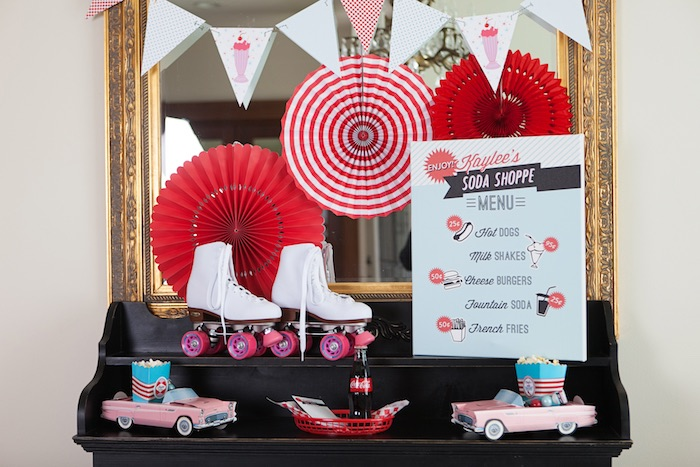 Table from a Retro Soda Shoppe Birthday Party via Kara's Party Ideas - The Place for All Things Party! KarasPartyIdeas.com (38)