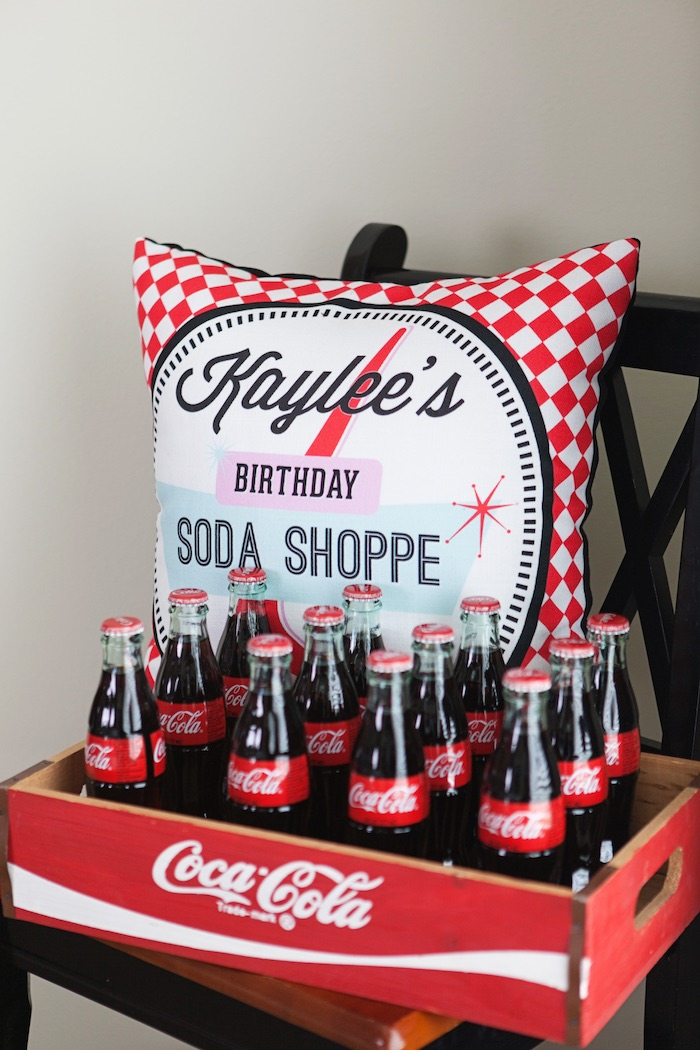 Custom Pillow + Drink Bottles from a Retro Soda Shoppe Birthday Party via Kara's Party Ideas - The Place for All Things Party! KarasPartyIdeas.com (36)