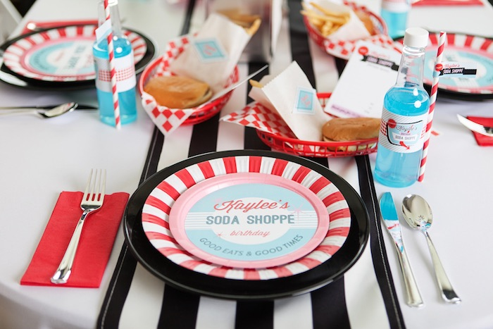 Place Setting from a Retro Soda Shoppe Birthday Party via Kara's Party Ideas - The Place for All Things Party! KarasPartyIdeas.com (35)