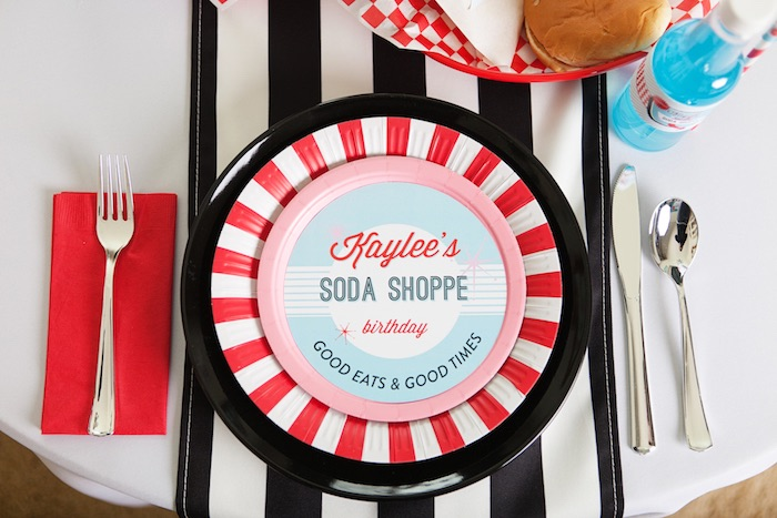 Place Setting from a Retro Soda Shoppe Birthday Party via Kara's Party Ideas - The Place for All Things Party! KarasPartyIdeas.com (34)