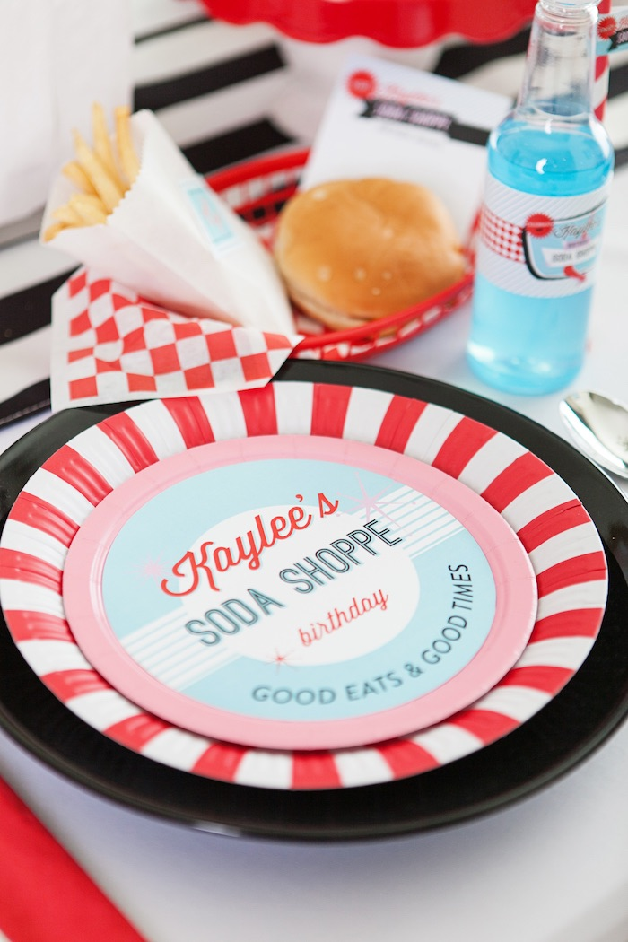 Place Setting from a Retro Soda Shoppe Birthday Party via Kara's Party Ideas - The Place for All Things Party! KarasPartyIdeas.com (33)