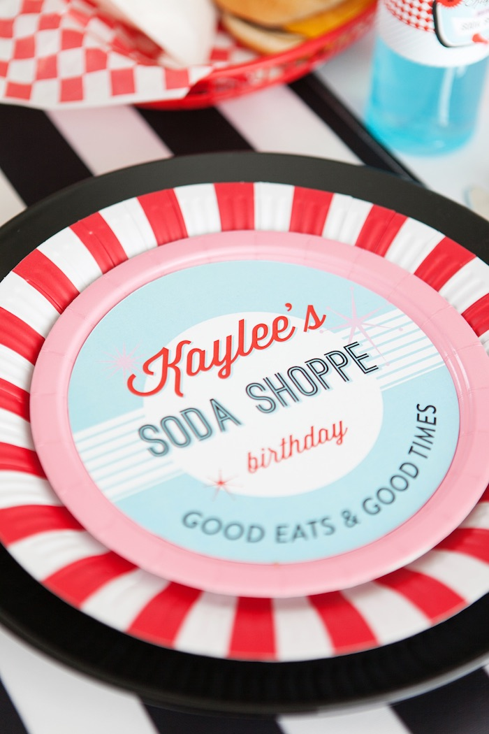 Plate Setting from a Retro Soda Shoppe Birthday Party via Kara's Party Ideas - The Place for All Things Party! KarasPartyIdeas.com (30)