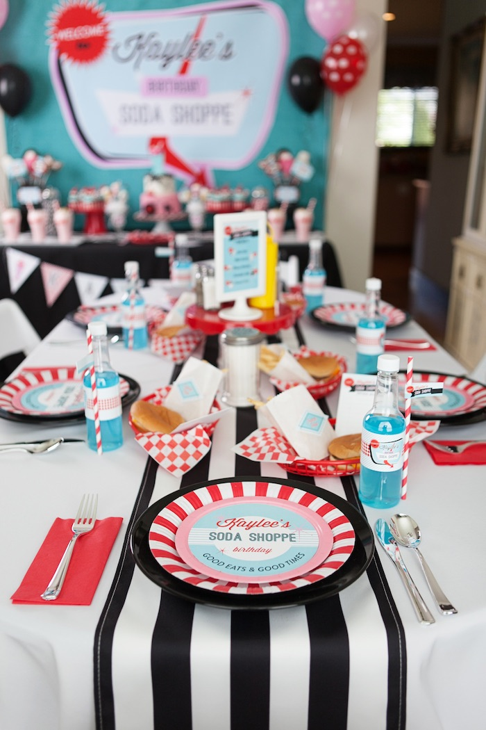 Dining Tablescape from a Retro Soda Shoppe Birthday Party via Kara's Party Ideas - The Place for All Things Party! KarasPartyIdeas.com (28)