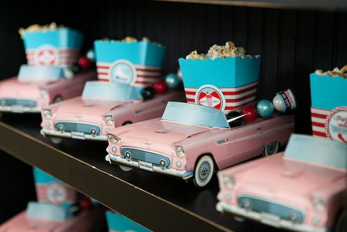 Vintage Car Favor Boxes from a Retro Soda Shoppe Birthday Party via Kara's Party Ideas - The Place for All Things Party! KarasPartyIdeas.com (26)