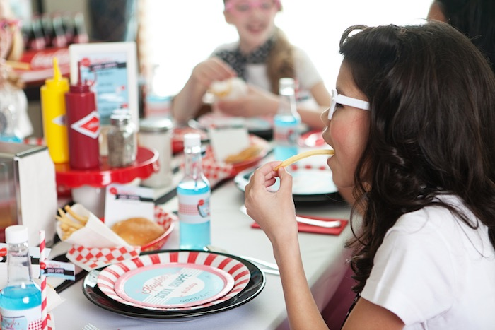 Party Goers Eating at a Retro Soda Shoppe Birthday Party via Kara's Party Ideas - The Place for All Things Party! KarasPartyIdeas.com (22)