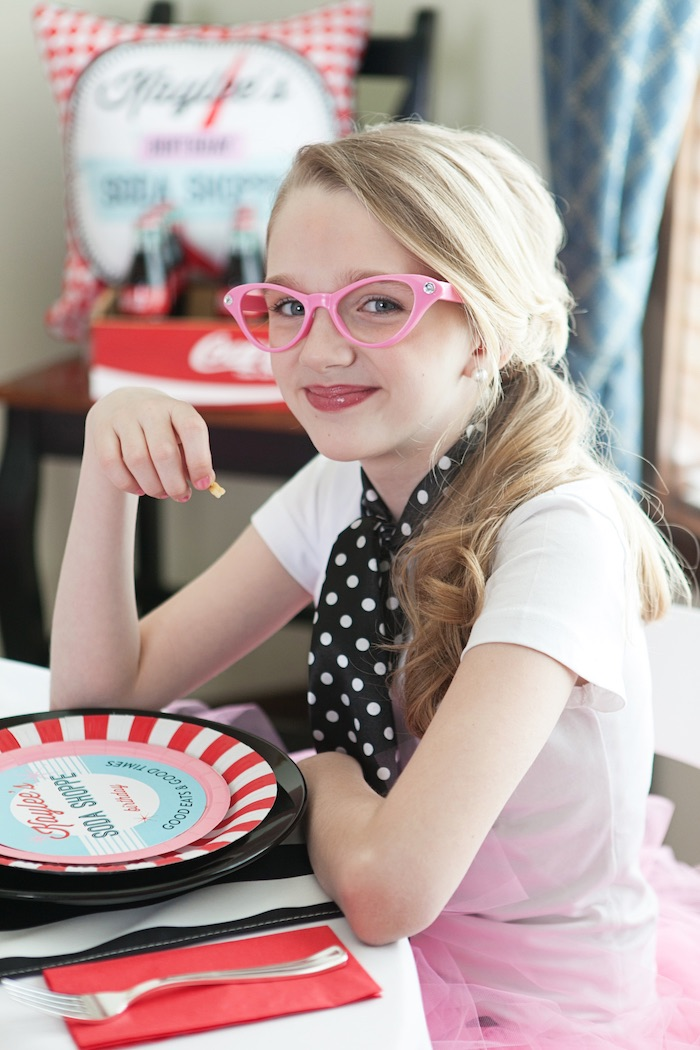 Birthday Girl from a Retro Soda Shoppe Birthday Party via Kara's Party Ideas - The Place for All Things Party! KarasPartyIdeas.com (21)