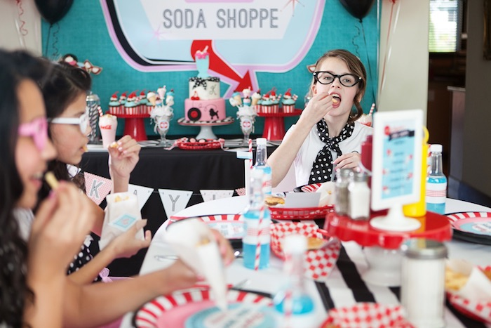 Guest Table + Party Goer from a Retro Soda Shoppe Birthday Party via Kara's Party Ideas - The Place for All Things Party! KarasPartyIdeas.com (20)