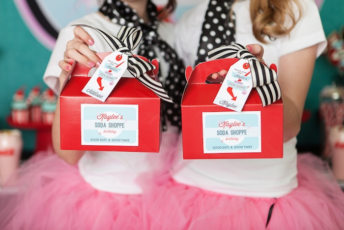 Gable Favor Boxes from a Retro Soda Shoppe Birthday Party via Kara's Party Ideas - The Place for All Things Party! KarasPartyIdeas.com (15)