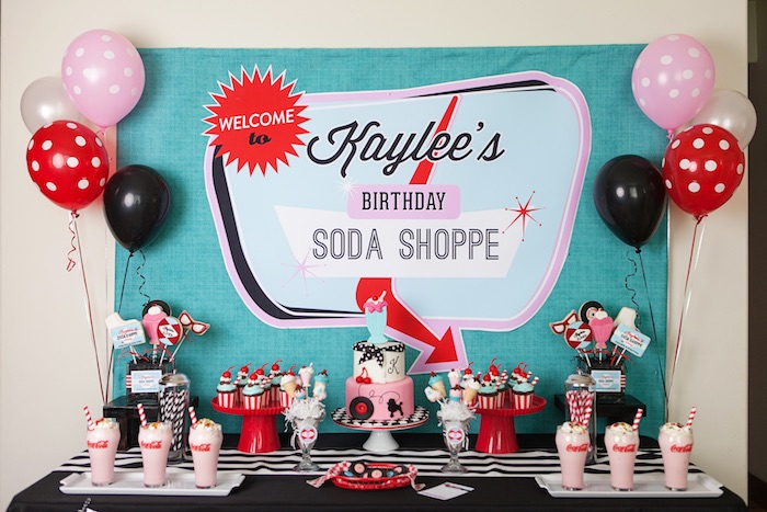 Sweet Table From A Retro Soda Shoppe Birthday Party Via Karas Ideas