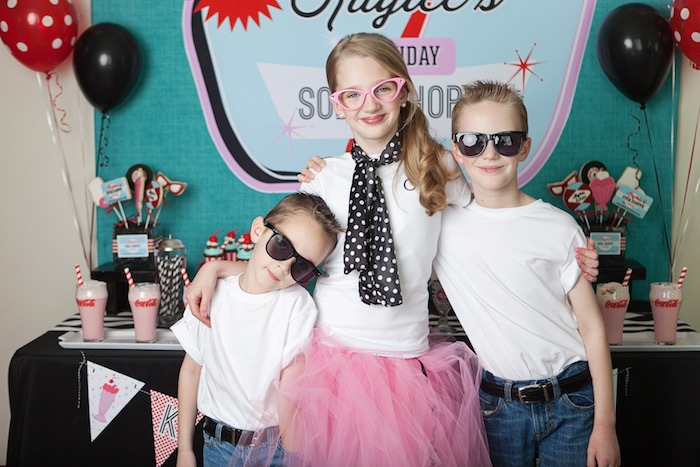 Little Studs with The Birthday Girl from a Retro Soda Shoppe Birthday Party via Kara's Party Ideas - The Place for All Things Party! KarasPartyIdeas.com (8)