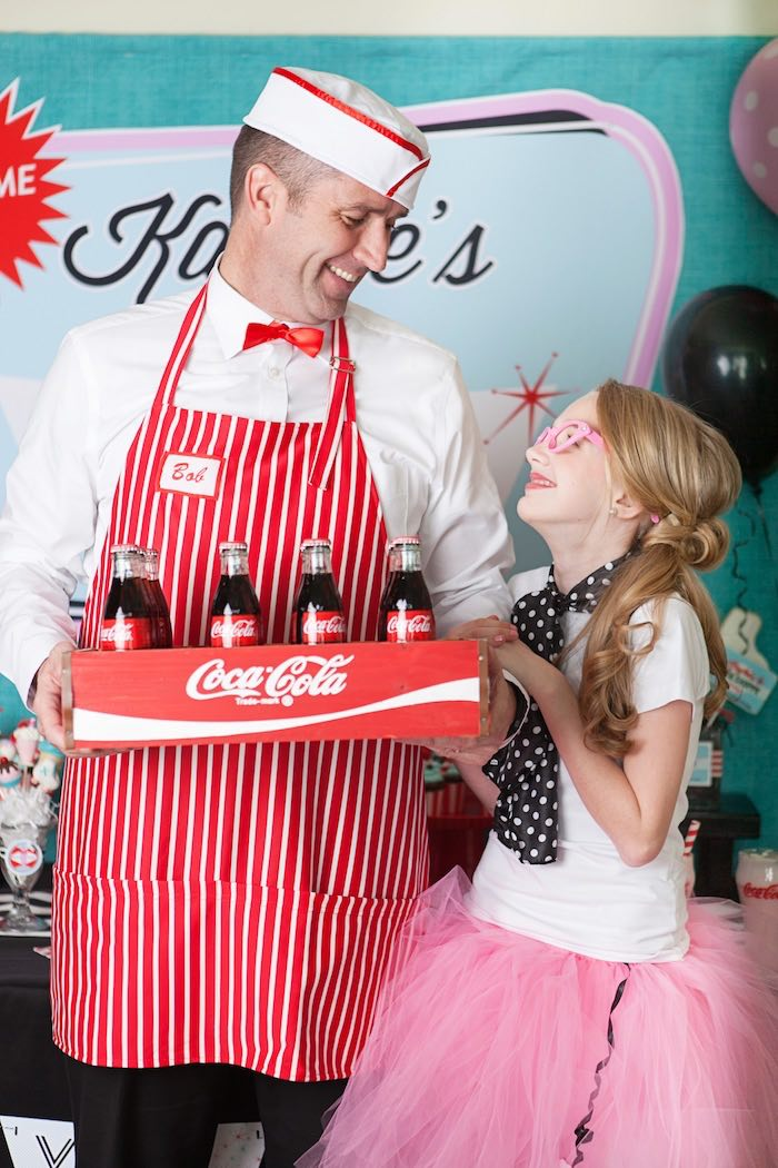 Waiter + Birthday Girl from a Retro Soda Shoppe Birthday Party via Kara's Party Ideas - The Place for All Things Party! KarasPartyIdeas.com (7)