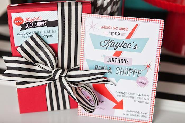 Invitation from a Retro Soda Shoppe Birthday Party via Kara's Party Ideas - The Place for All Things Party! KarasPartyIdeas.com (4)