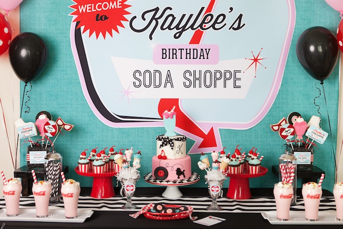 Sweet Table Details from a Retro Soda Shoppe Birthday Party via Kara's Party Ideas - The Place for All Things Party! KarasPartyIdeas.com (53)