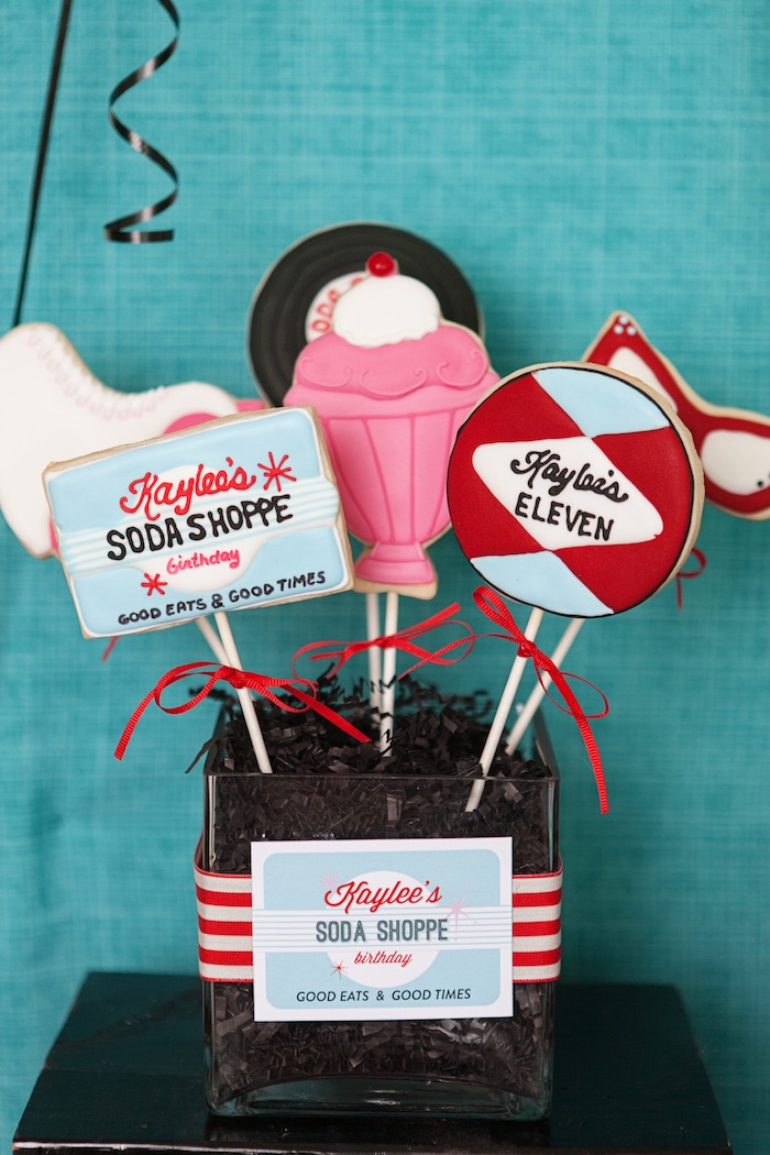 Cookie Pops from a Retro Soda Shoppe Birthday Party via Kara's Party Ideas - The Place for All Things Party! KarasPartyIdeas.com (52)