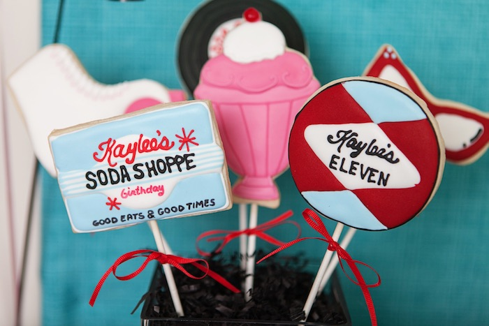Cookie Pops from a Retro Soda Shoppe Birthday Party via Kara's Party Ideas - The Place for All Things Party! KarasPartyIdeas.com (51)