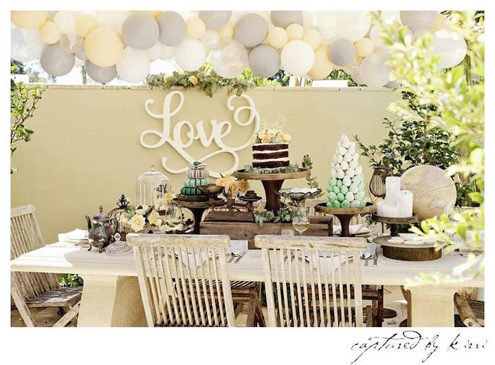 guest table partyscape from a guest table from a rustic outdoor bridal shower via karas