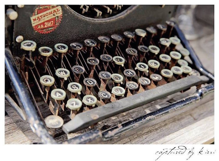 Vintage Typewriter Decoration from a Rustic Outdoor Bridal Shower via Kara's Party Ideas | KarasPartyIdeas.com | The Place for All Things Party! (40)