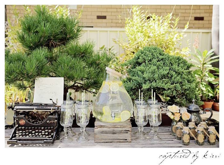 Drink + Favor Table from a Rustic Outdoor Bridal Shower via Kara's Party Ideas | KarasPartyIdeas.com | The Place for All Things Party! (32)