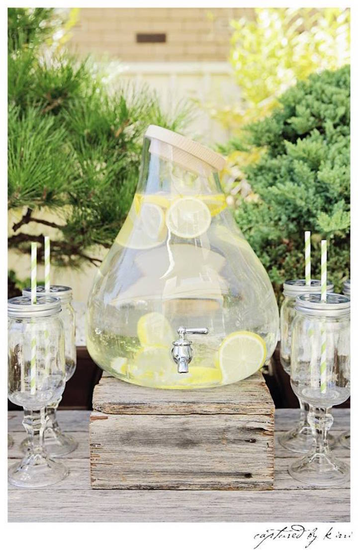 Drink Station from a Rustic Outdoor Bridal Shower via Kara's Party Ideas | KarasPartyIdeas.com | The Place for All Things Party! (19)