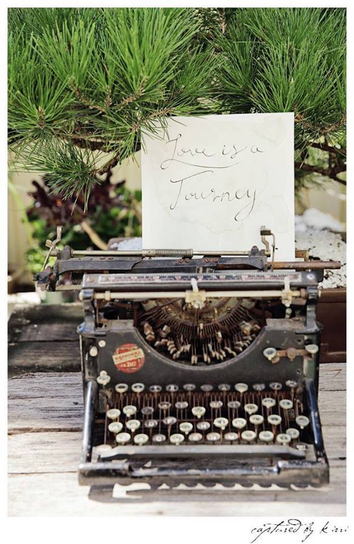 Vintage Typewriter Decor Piece from a Rustic Outdoor Bridal Shower via Kara's Party Ideas | KarasPartyIdeas.com | The Place for All Things Party! (5)