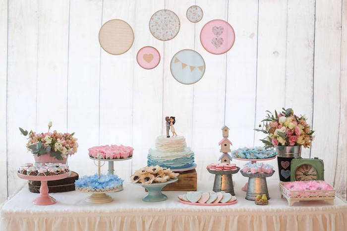 Cake Table from a Rustic Shabby Chic Wedding via Kara's Party Ideas - KarasPartyIdeas.com (23)