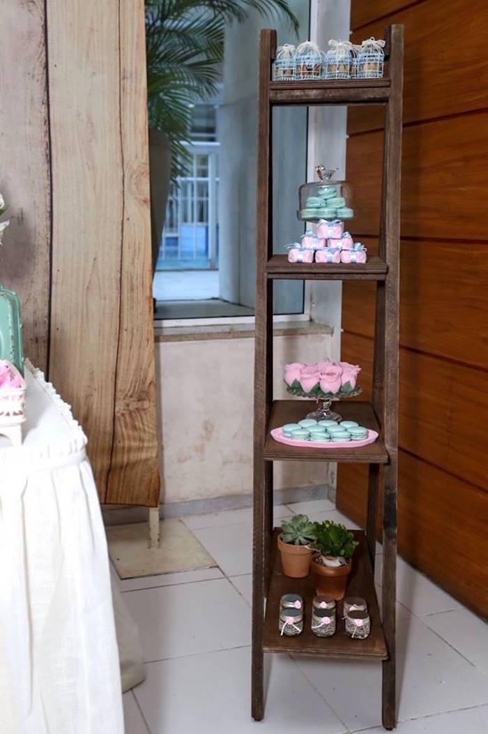 Tiered Shelf full of Favors from a Rustic Shabby Chic Wedding via Kara's Party Ideas - KarasPartyIdeas.com (37)