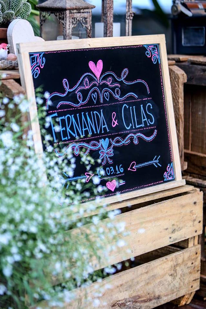 Chalkboard Sign from a Rustic Shabby Chic Wedding via Kara's Party Ideas - KarasPartyIdeas.com (13)