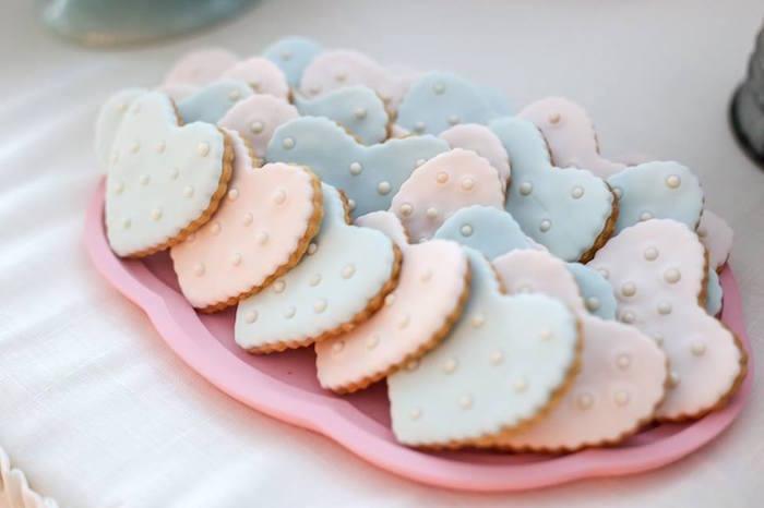 Heart-shaped Cookies from a Rustic Shabby Chic Wedding via Kara's Party Ideas - KarasPartyIdeas.com (10)