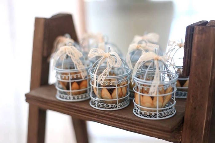 Bird Cage Favors from a Rustic Shabby Chic Wedding via Kara's Party Ideas - KarasPartyIdeas.com (5)