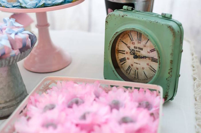 Rustic Clock Decor Piece from a Rustic Shabby Chic Wedding via Kara's Party Ideas - KarasPartyIdeas.com (31)