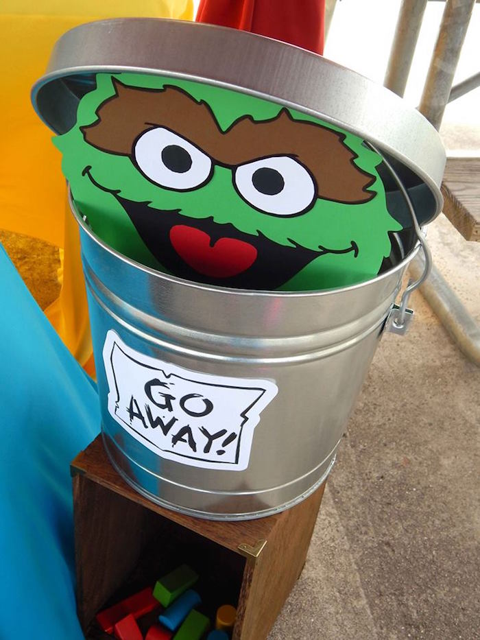 Oscar the Grouch Decor Piece from a Rustic Whimsical Sesame Street Birthday Party via Kara's Party Ideas | KarasPartyIdeas.com (32)