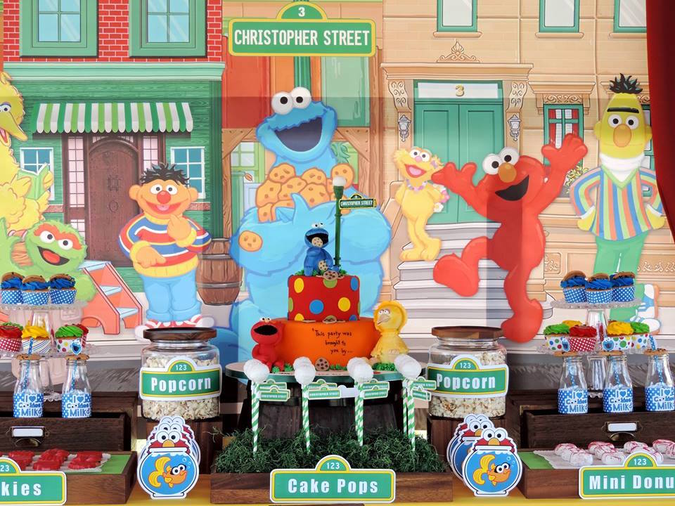 Sweet Table from a Rustic Whimsical Sesame Street Birthday Party via Kara's Party Ideas | KarasPartyIdeas.com (29)