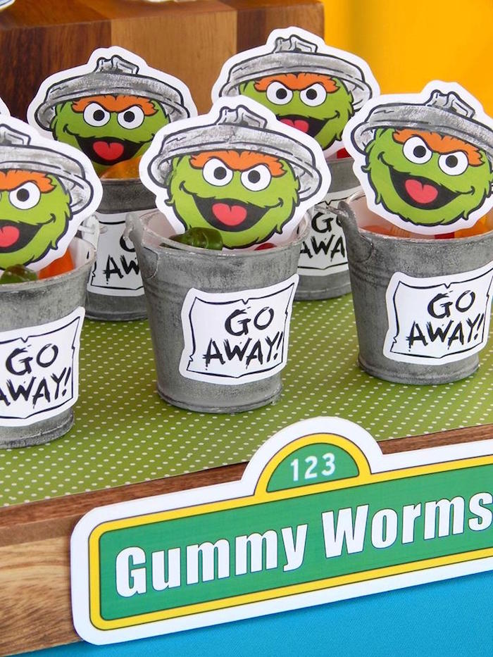 Oscars' Trash Can Favors from a Rustic Whimsical Sesame Street Birthday Party via Kara's Party Ideas | KarasPartyIdeas.com (28)