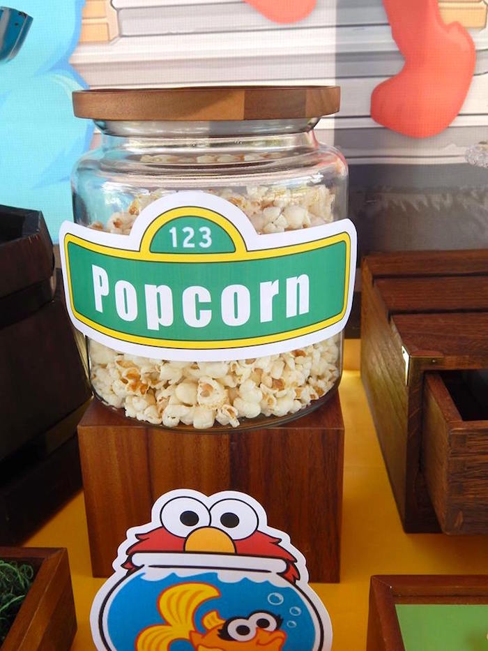 Popcorn from a Rustic Whimsical Sesame Street Birthday Party via Kara's Party Ideas | KarasPartyIdeas.com (27)