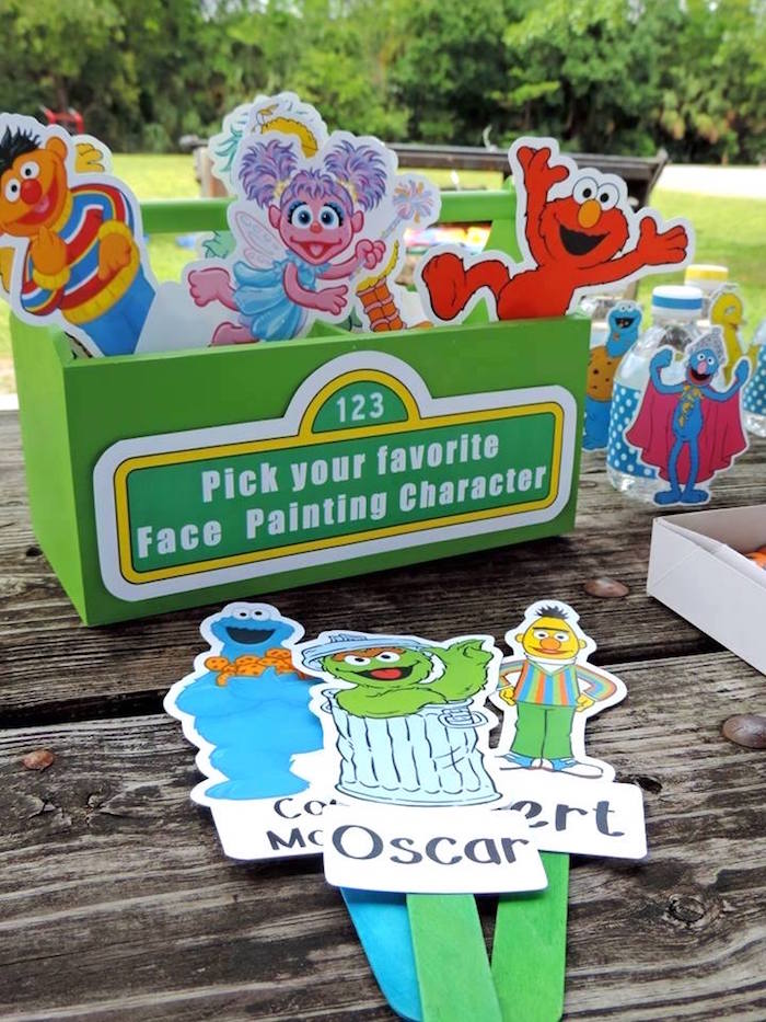 Paper Sesame Street Characters from a Rustic Whimsical Sesame Street Birthday Party via Kara's Party Ideas | KarasPartyIdeas.com (26)