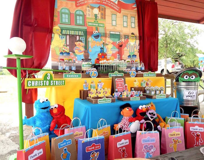 Sweet Table from a Rustic Whimsical Sesame Street Birthday Party via Kara's Party Ideas | KarasPartyIdeas.com (23)